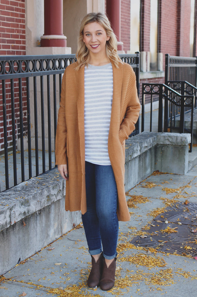 Camel Long Sleeve Open Front Knit Cardigan