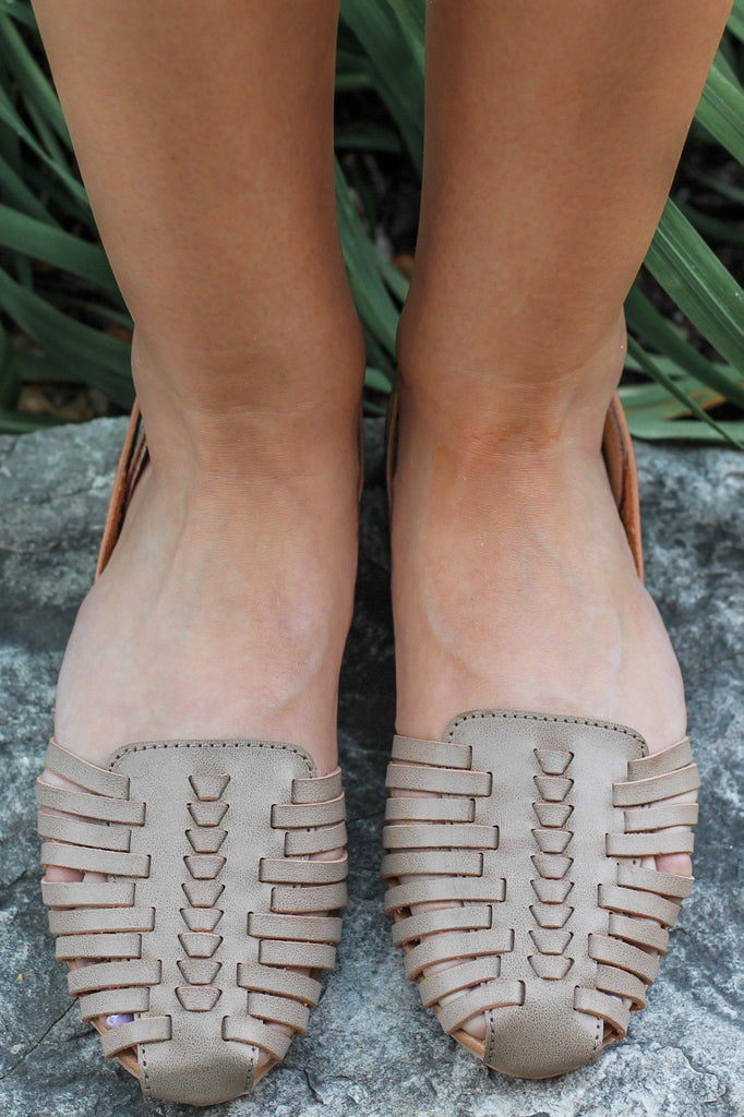 Taupe Faux Leather Woven Accent Flats Palmer-413