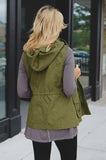 Sleeveless Drawstring Waist Hooded Vest