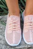 Light Coral Open Knit Lace Up Front Sneakers Reckless-02