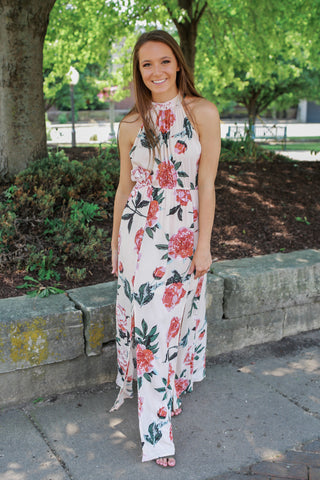Floral Lane Midi Dress - Peach