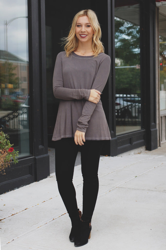 Long Sleeve Wide Round Neck Top