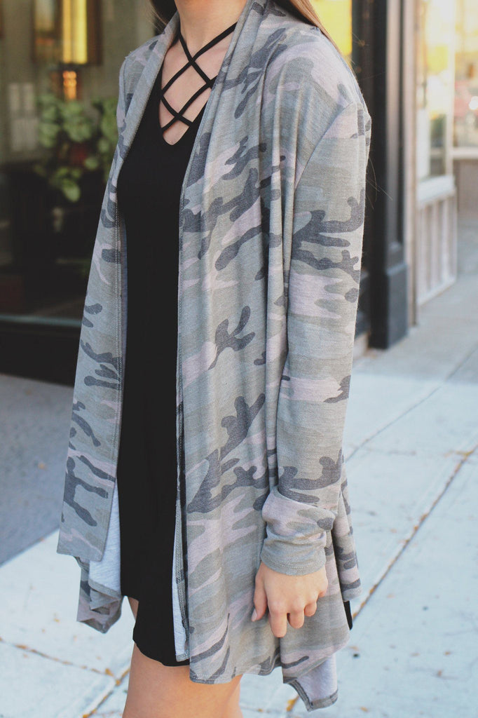 Camouflage Long Sleeve Open Front Cardigan