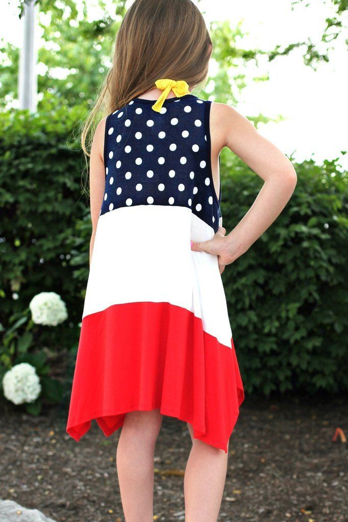 Kids Sleeveless Patriotic Round Neck Colorblock Tunic