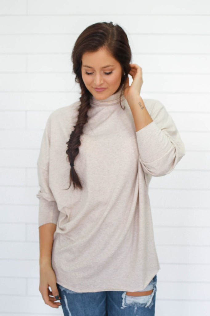 Dolman Sleeve Turtleneck Top - Online Clothing Boutique