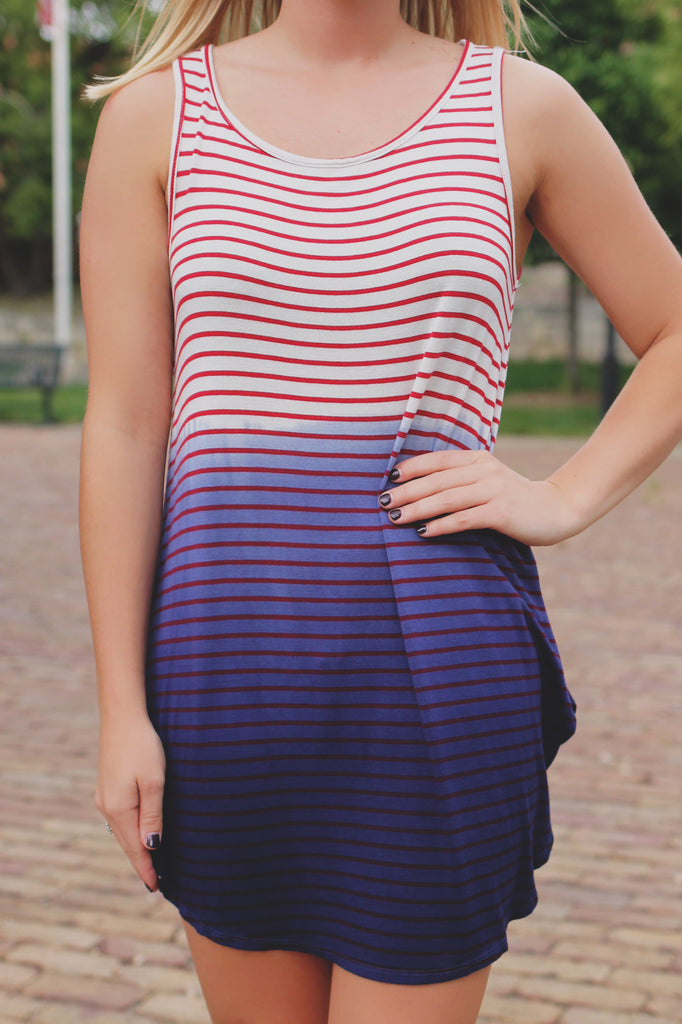 Indigo Dip Dyed Red Stripe Round Hem Tank Dress