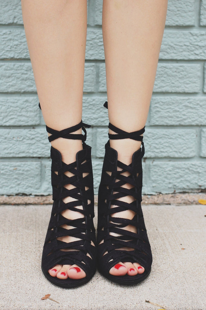 Peep Toe Cut Out Lace Up Wooden Heel Booties Hewitt-S