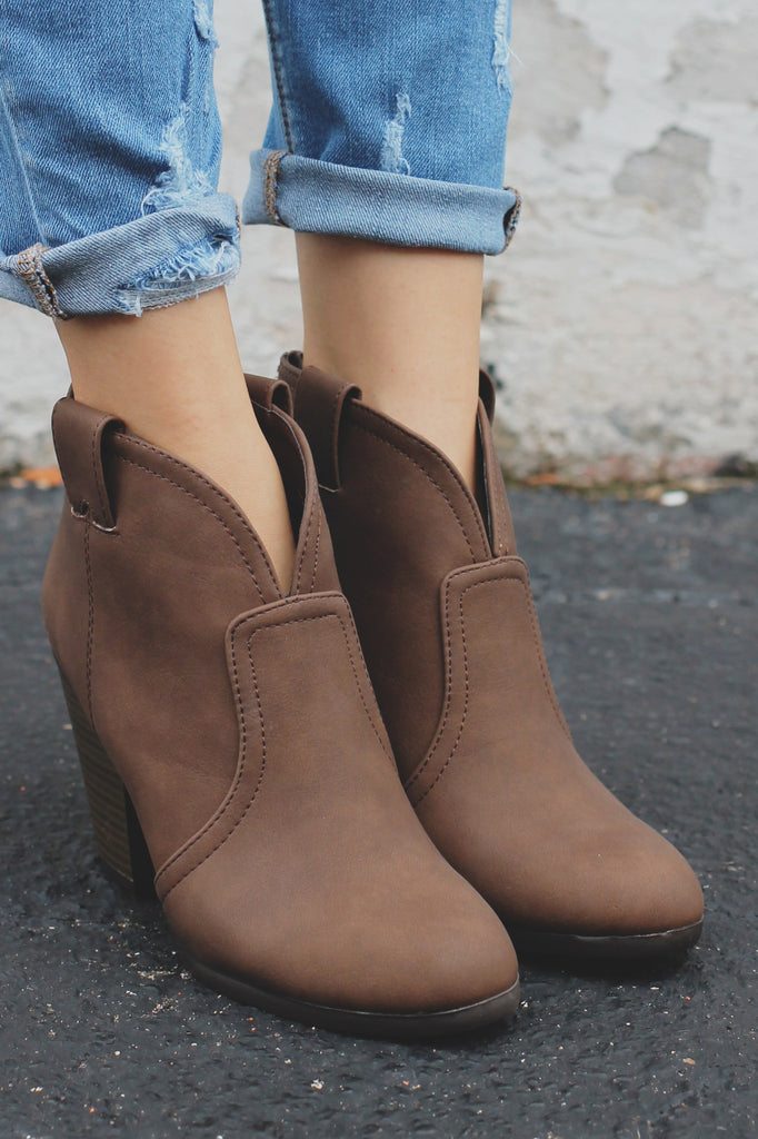 Brown Western Stacked Wooden Heel Ankle Booties Paola
