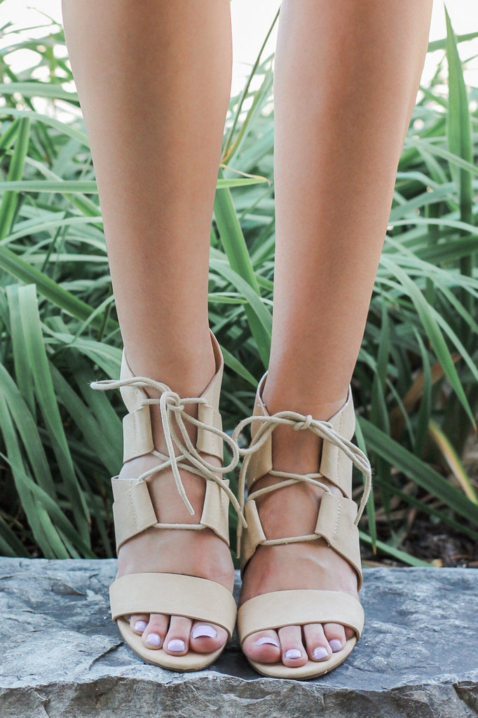 Faux Leather Strappy Lace Up Block Heels Fanwood-S