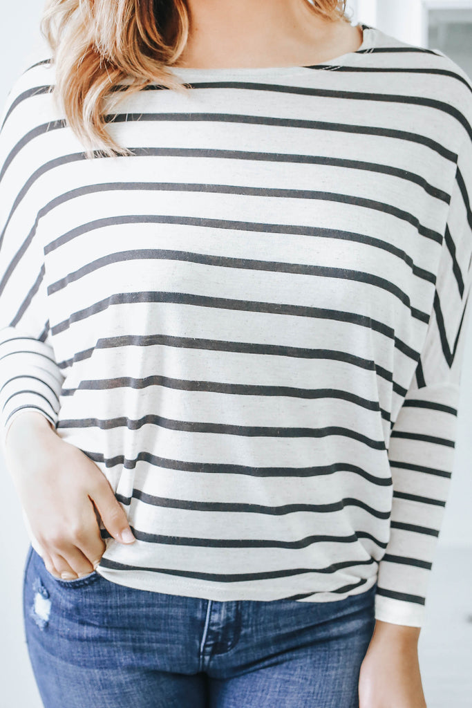 Striped Dolman Sleeve Top - Online Clothing Boutique