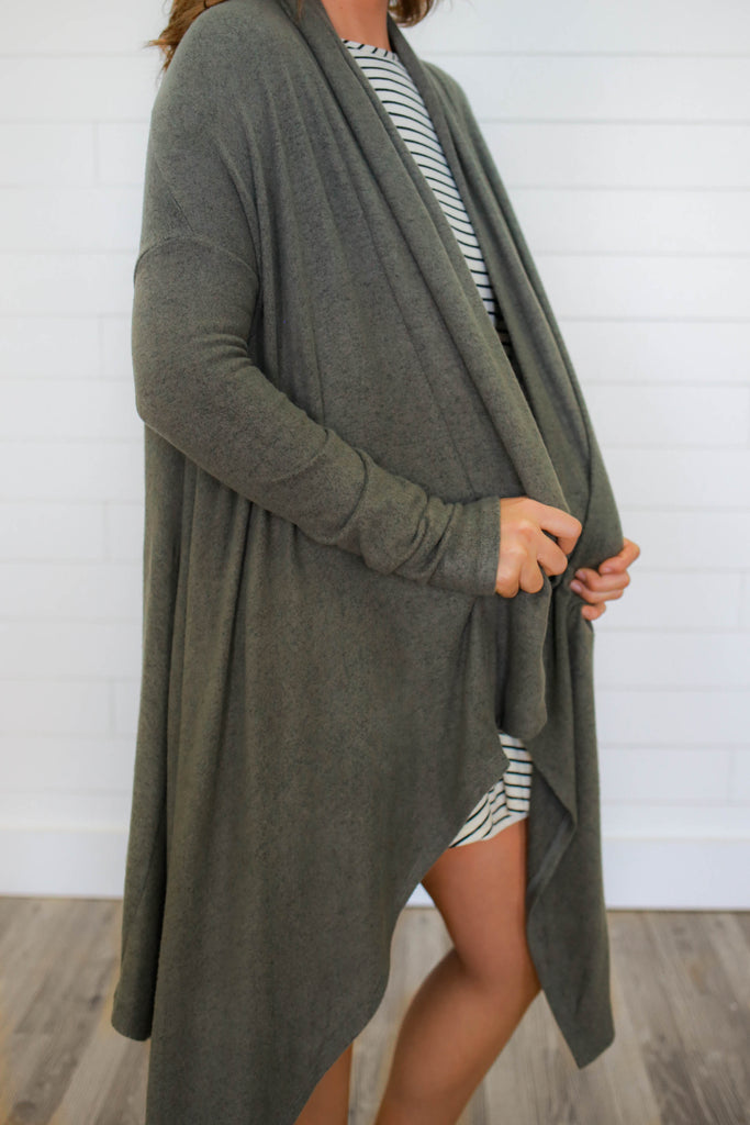 Shark Bite High Low Cardigan - Online Clothing Boutique