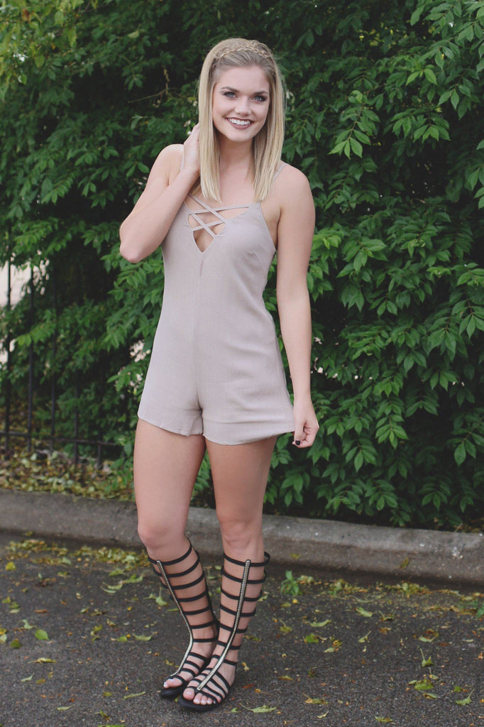 Taupe Criss Cross Deep V-neck Cami Strap Romper