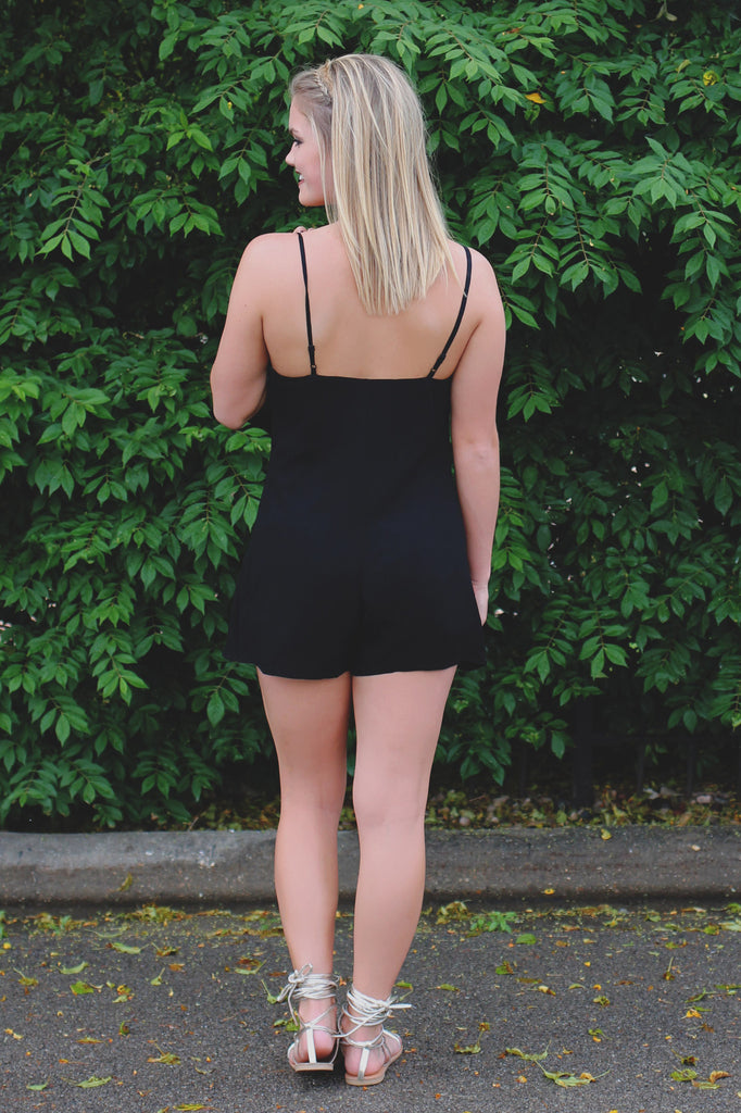 Black Criss Cross Deep V-neck Cami Strap Romper