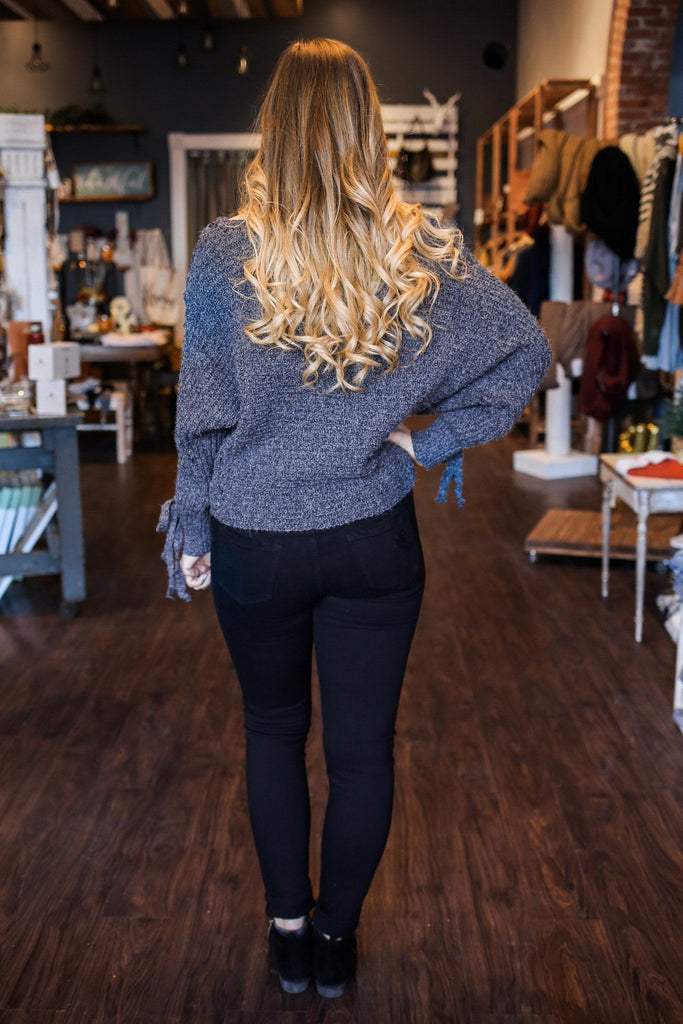 Lace Up Long Dolman Sleeve Chunky Knit Sweater