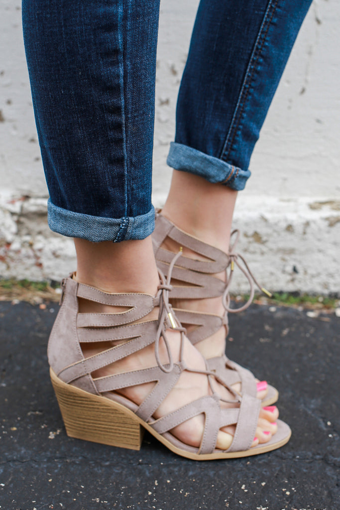Taupe Faux Suede Gladiator Style Lace Up Heeled Sandal Dalton-01X
