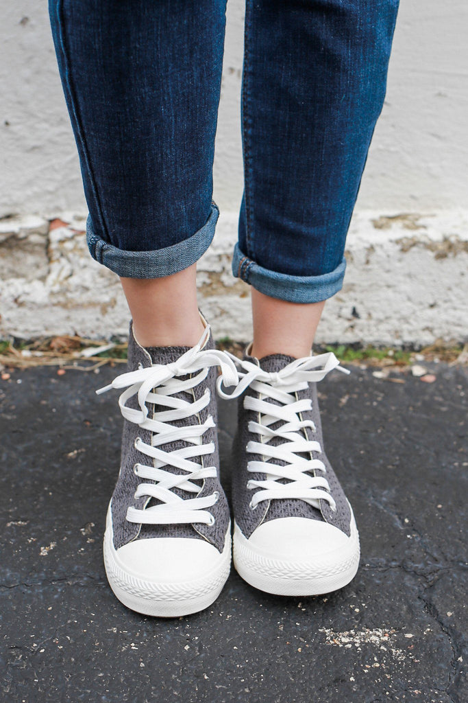 Charcoal Woven Lace Up Rubber Sole High Tops SPunky-03