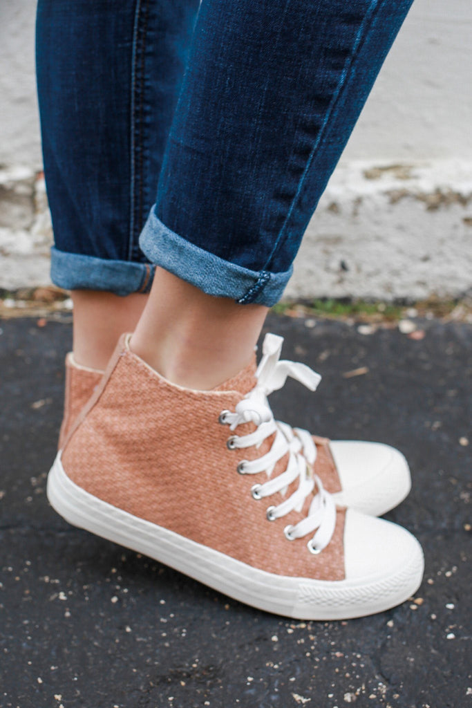 Dark Peach Woven Lace Up Rubber Sole High Tops SPunky-03