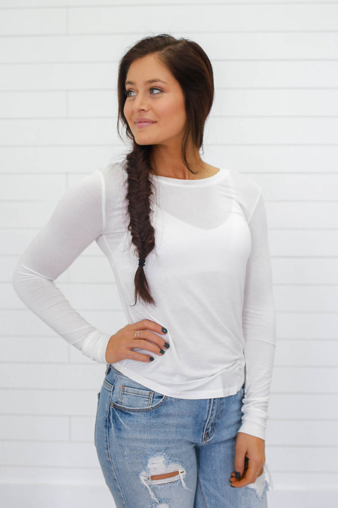 Basic White Long Sleeve Top - Online Clothing Boutique
