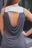 Sequined Detail Draped Back Sleeveless Tank Top