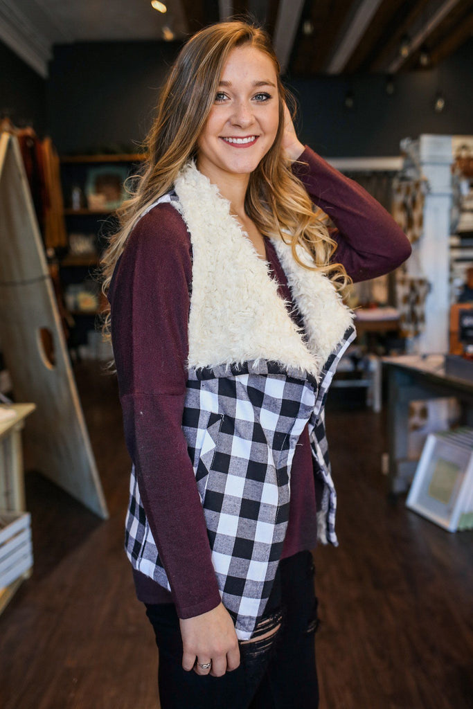 Buffalo Plaid Faux Shearling Shawl Neckline Vest