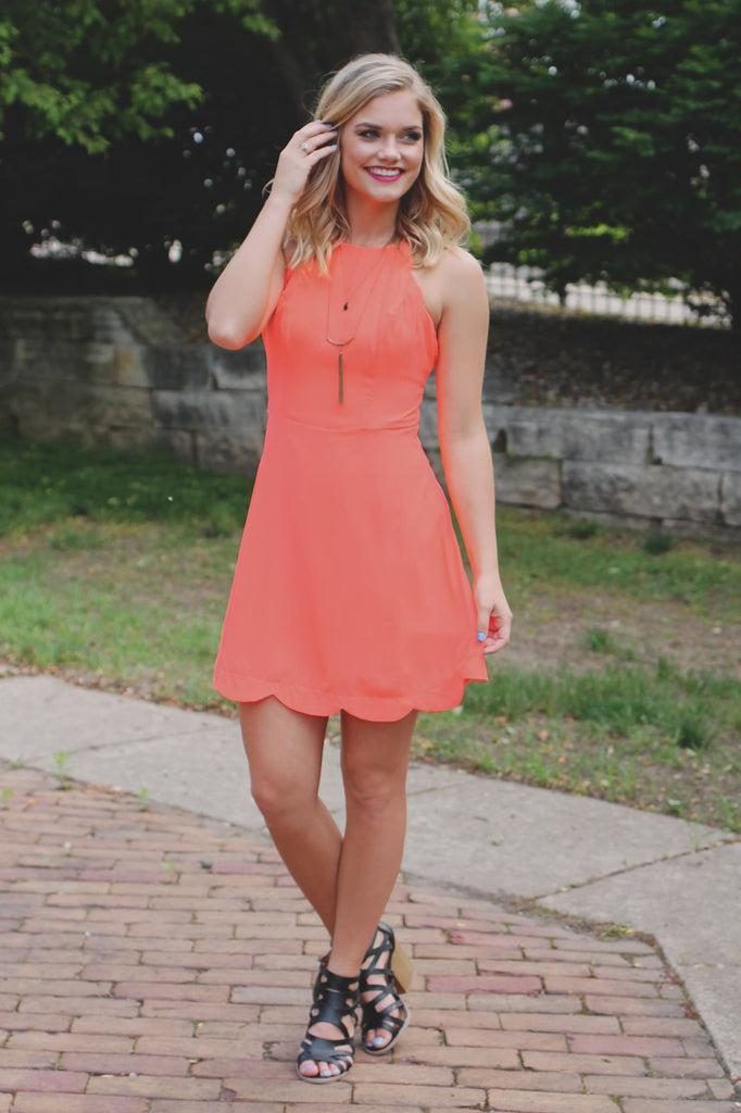 Neon Coral Scallop Detail Criss Cross Tie Back Dress
