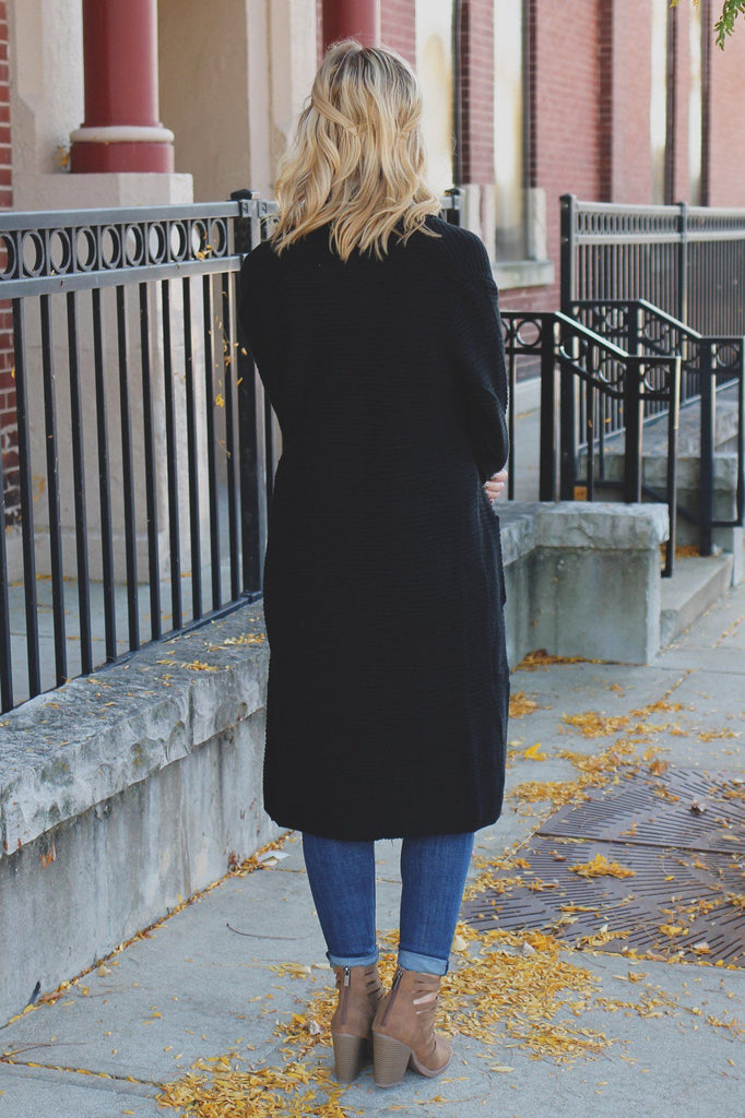Black Long Sleeve Open Front Knit Cardigan