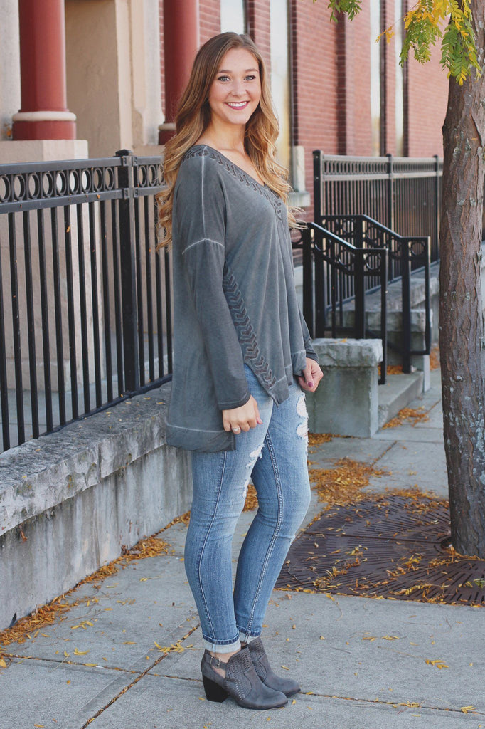 Long Sleeve Embroidered V-neck Lightweight High Low Top