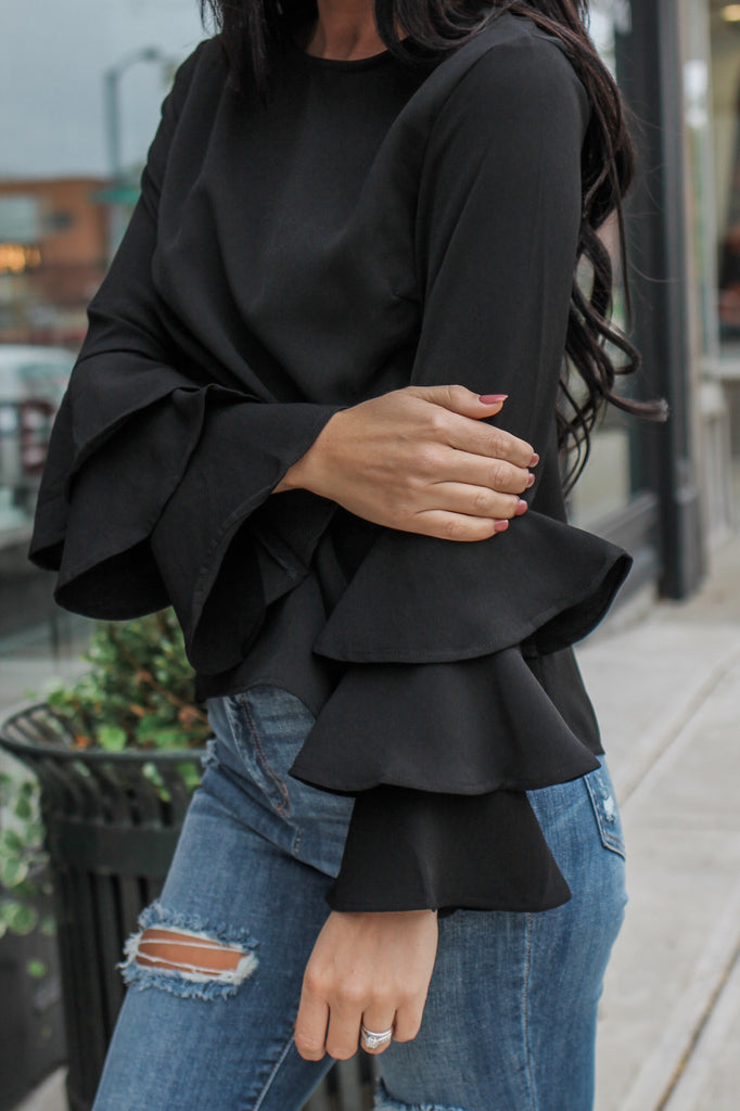 Long Tiered Sleeve Blouse - Online Clothing Boutique
