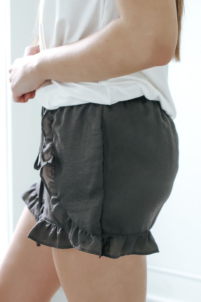 Satin Ruffle Shorts - Online Clothing Boutique