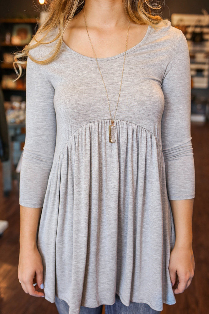 Heather Grey 3/4 Sleeve Round Neck Babydoll Tunic
