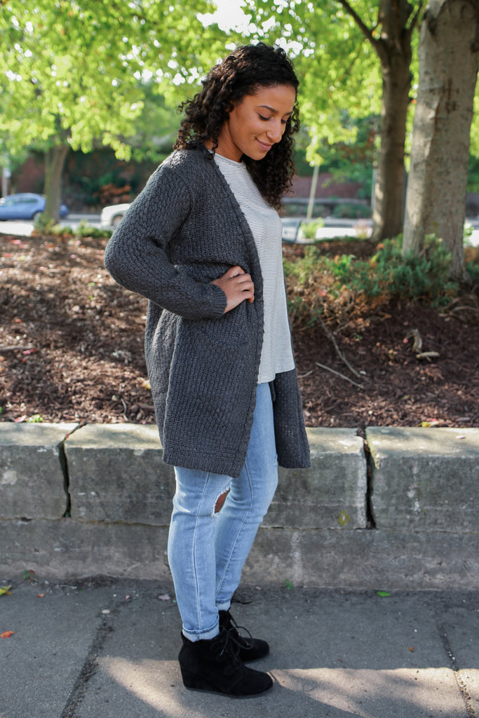 Chunky Knit Charcoal Cardigan - Online Clothing Boutique