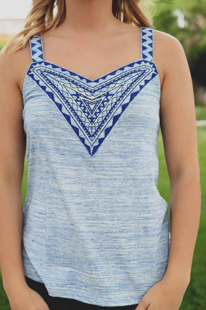Heathered Sleeveless Embroidered Yoke Cut Out Back Top