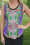 Tropical Print Sleeveless Round Neckline Tank