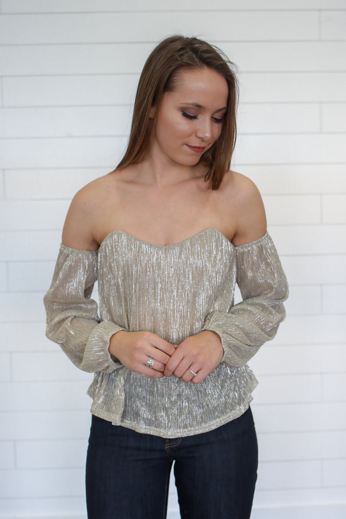 Metallic Bustier Cold Shoulder Top - Online Clothing Boutique