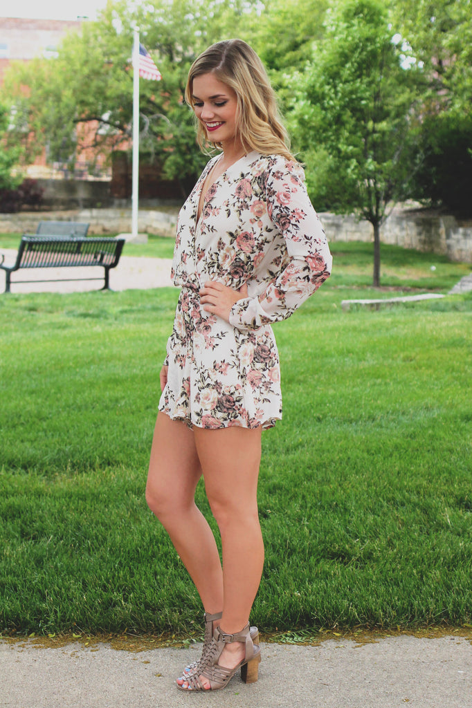 Floral Print Long Sleeve Wrap Front Open Back Romper