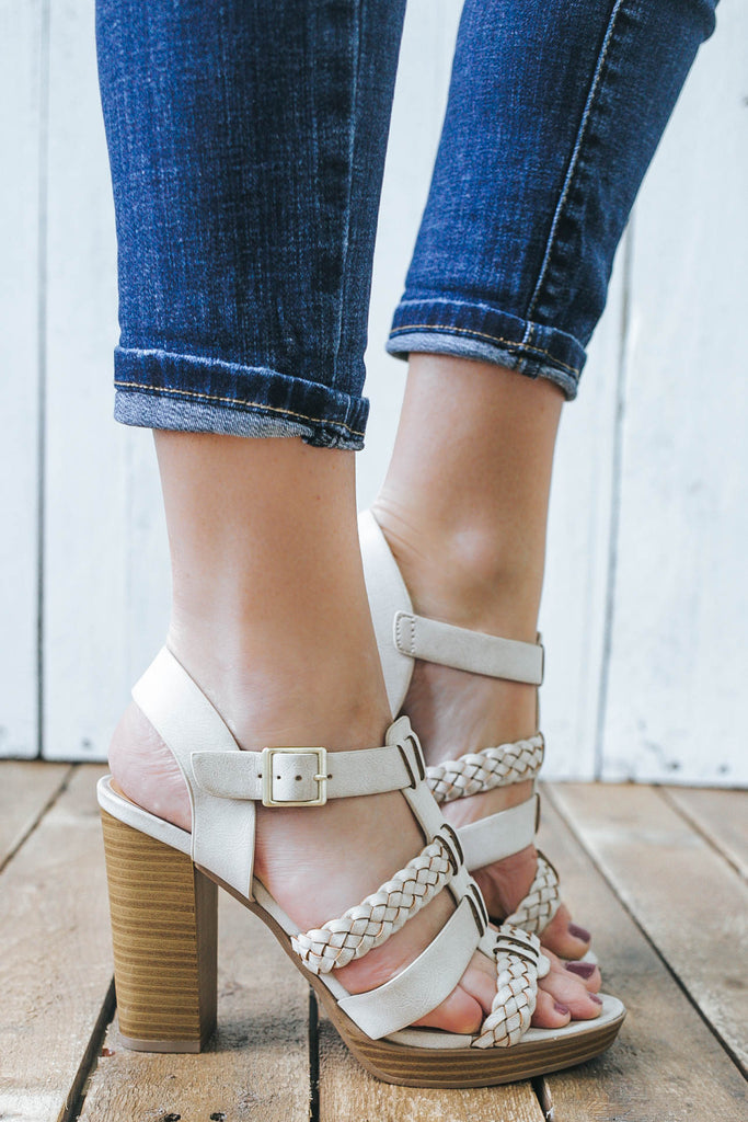 Jigsaw-S Open Toe Heels - Online Clothing Boutique