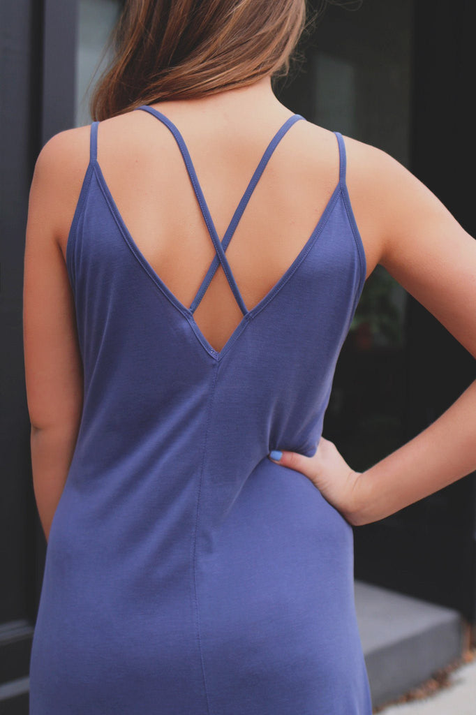 Indigo V-neck Wrapped Front Strappy Back Midi Dress