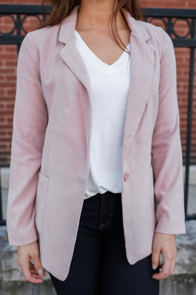 Blush Faux Suede Blazer - Online Clothing Boutique