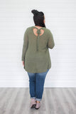 Olive Keyhole Back Plus Sized Top - Online Clothing Boutique
