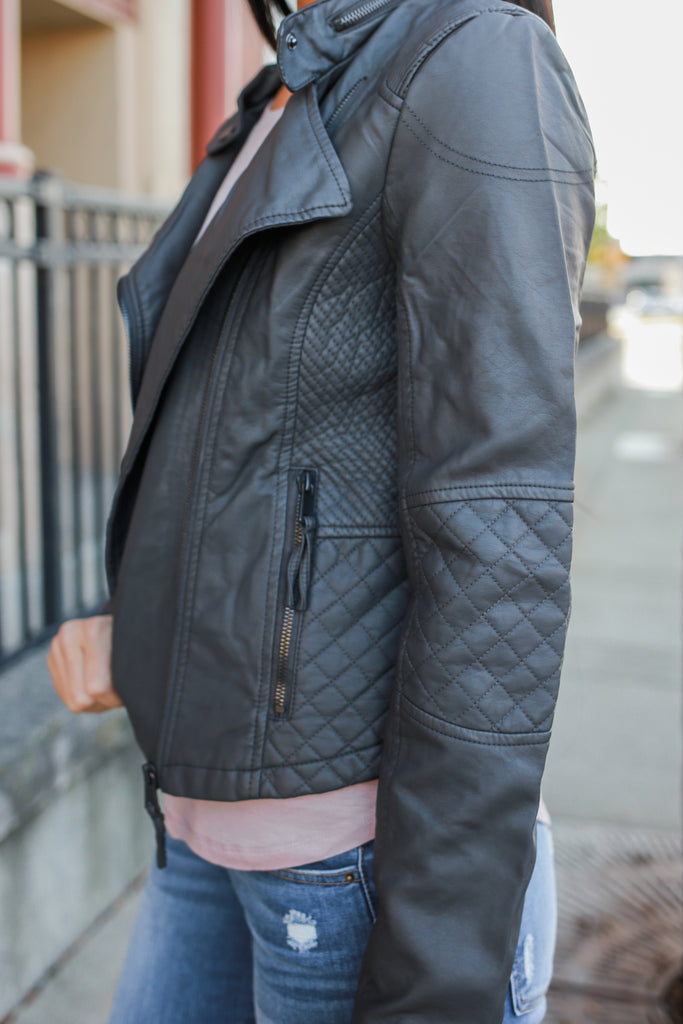 Charcoal Faux Leather Moto Jacket - Online Clothing Boutique