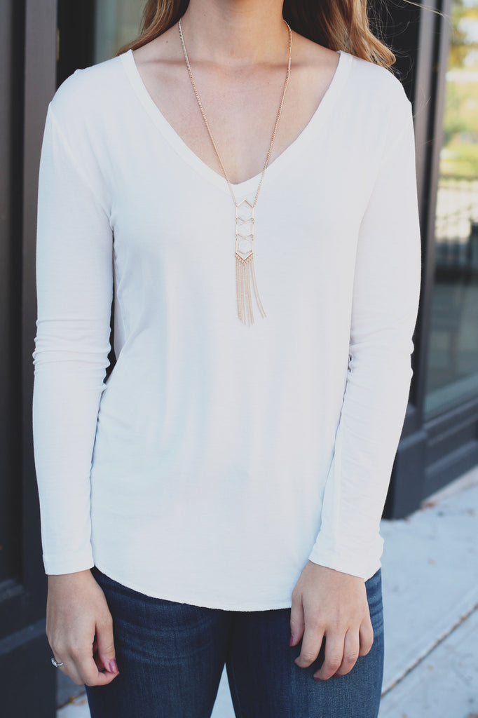 Basic Long Sleeve V-Neck Top - Online Clothing Boutique