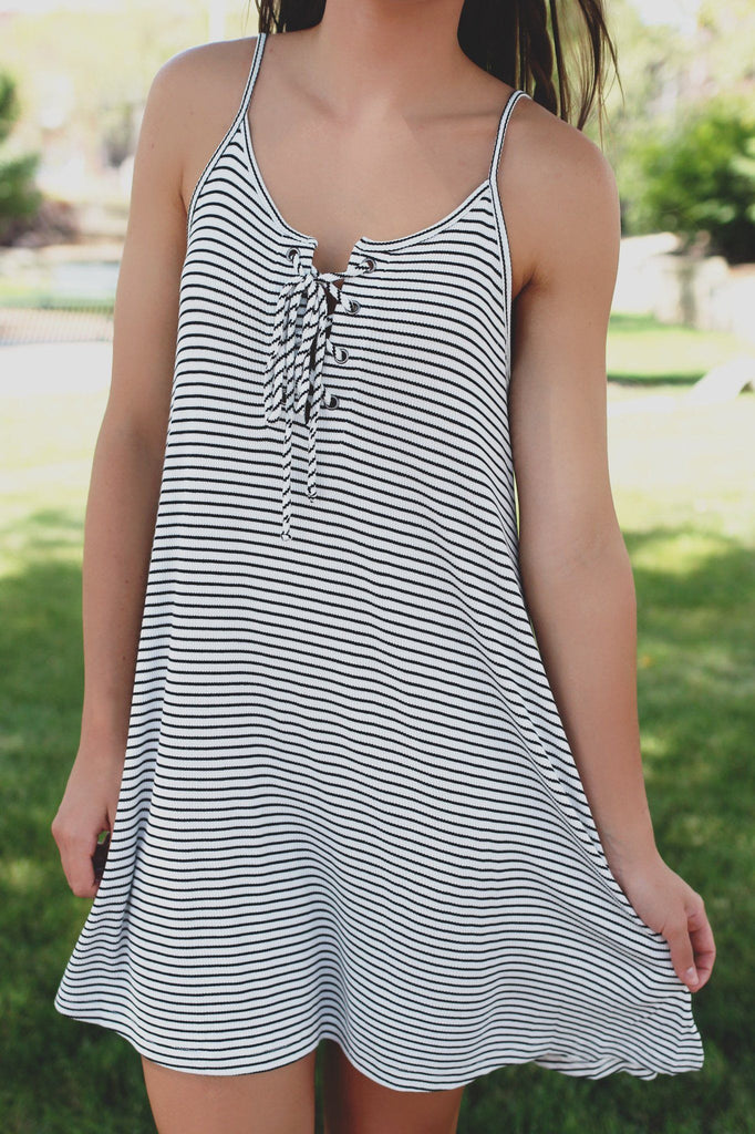 Striped Cami Strap Laceup Front Ribbed Knit Swing Dress