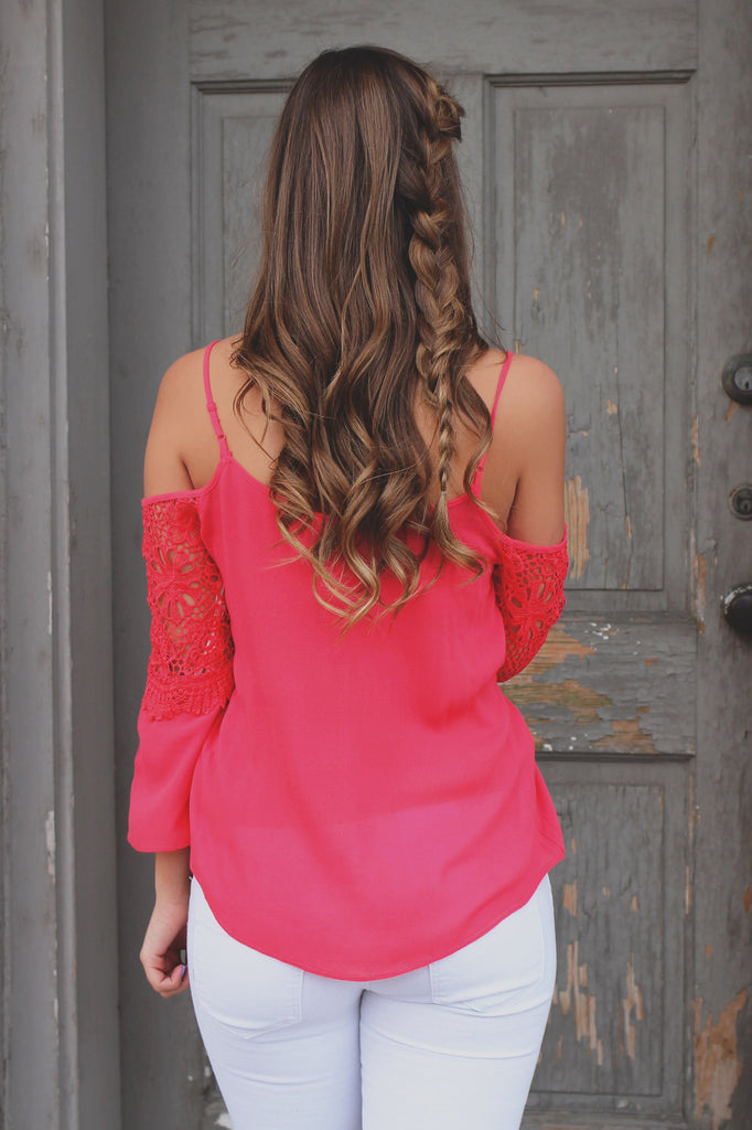 Coral Cold Shoulder Floral Scallop Crochet Flounce Top