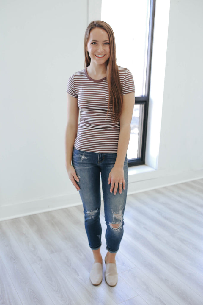 Basic Striped T-Shirt - Online Clothing Boutique