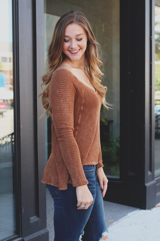 Cinnamon Long Sleeve Deep Scoop Neck Waffle Knit Top