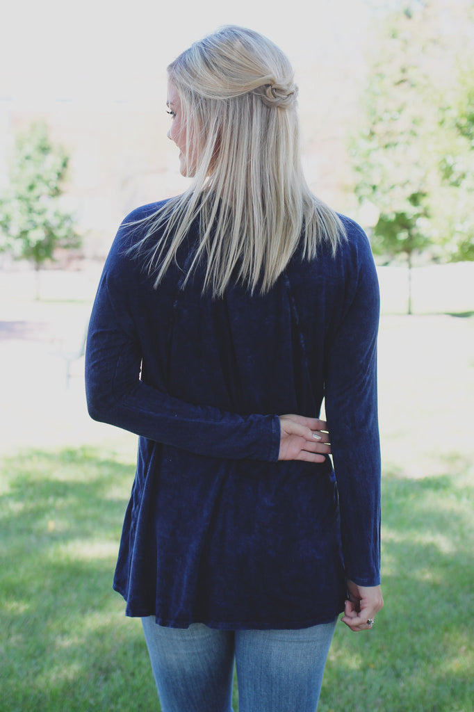 Navy Long Sleeve Mineral Wash High-low Hem Top