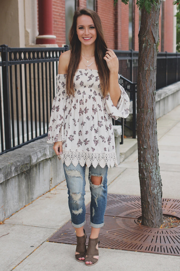 Floral Print Long Bell Sleeve Off the Shoulder Top