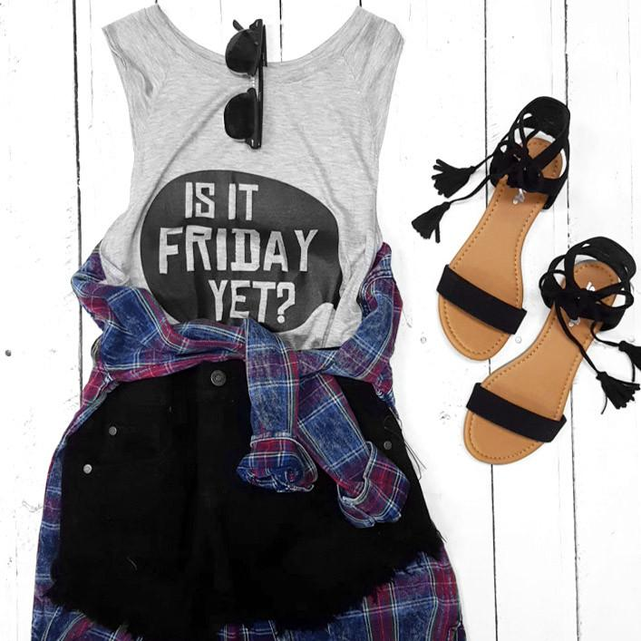 Is It Friday Yet Graphic Sleeveless Muscle Top