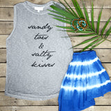 Sandy Toes & Salty Kisses Graphic Ribbed Knit Tank Top