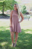 Spice Sleeveless Mock Neck Trapeze Knit Dress